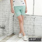 【JEEP】女裝 夏日風情印花休閒短褲-湖綠色