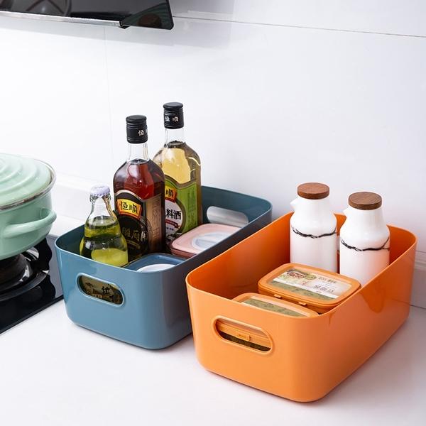【BlueCat】莫蘭迪亮面色系長型收納盒 (小) 收納籃 塑膠盒 置物盒 書籍收納 衣物收納 廚房收納