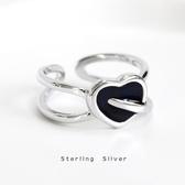 s925純銀一箭穿心復古指環韓國東大門個性氣質女款愛心戒指飾品