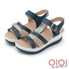 楔型涼鞋 輕夏涼感撞色真皮楔型涼鞋(藍) *0101shoes 【18-525-1b】【現+預】