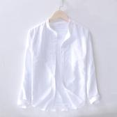 日系長袖圓領亞麻襯衫男休閑透氣柔軟男士棉麻料修身立領白襯衣男