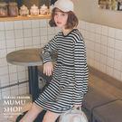 MUMU SHOP【O65449】甜美韓風條紋百搭連身洋裝