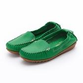 MICHELLE PARK 輕時尚舒適彈力牛皮休閒平底鞋-綠