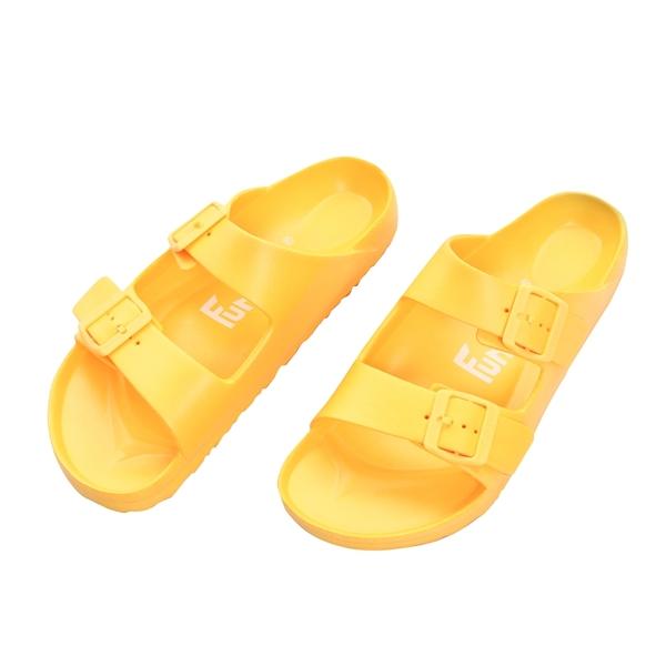 【333家居鞋館】Fun Plus+ 兒童款 雙排扣室外童拖鞋-黃色
