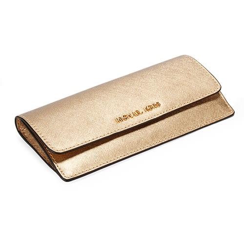 MICHAEL KORS 金LOGO金屬防刮皮革薄型壓釦長夾(金色)618117-3