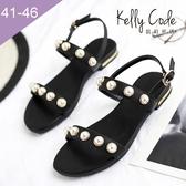 大尺碼女鞋-凱莉密碼-夏日性感珍珠羅馬真皮平底涼鞋2cm(41-46)【BY130-76】 黑色