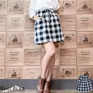 裙子--經典百搭款日系黑白格紋鬆緊腰頭抽繩雙口袋裙(黑XL-4L)-Q72眼圈熊中大尺碼