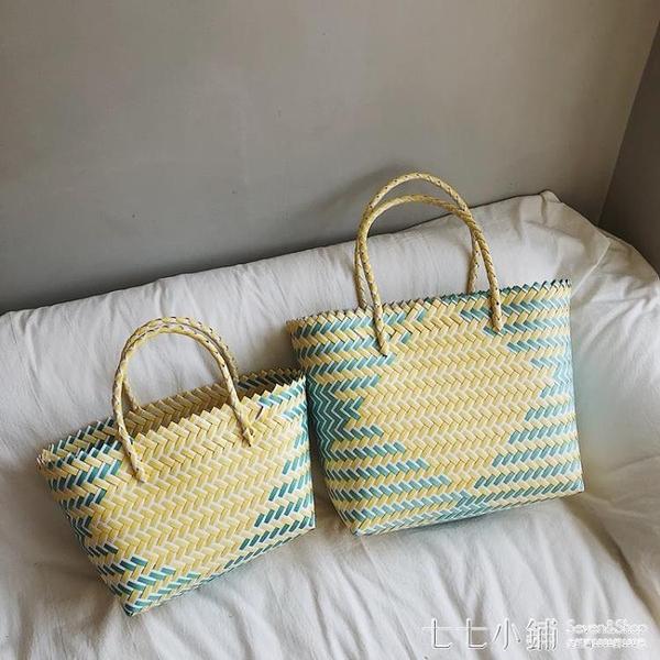 編織包~ 大容量藤編包菜籃子包海邊度假沙灘包手提編織包女撞色個性包包女
