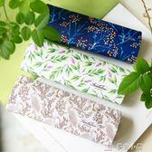 眼鏡盒框盒 白綠藏藍色 白鷺植物 原創文藝清新儲物盒手工盒七夕特惠下殺
