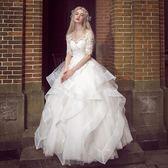一字肩婚紗禮服新款時尚公主蓬蓬裙新娘顯瘦齊地拖尾夢幻式        SQ7204『美鞋公社』TW