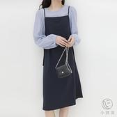 【襯衫 吊帶連衣裙】秋溫柔日系文藝風兩件套裝女【小酒窩服飾】