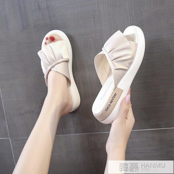 2021夏季女鞋韓潮夏季仙女風百搭時尚涼鞋鬆糕底休閒花邊輕便拖鞋 夏季新品