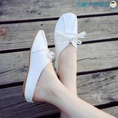 黑五好物節小白鞋女單鞋韓版平底女鞋森女豆豆鞋【洛麗的雜貨鋪】