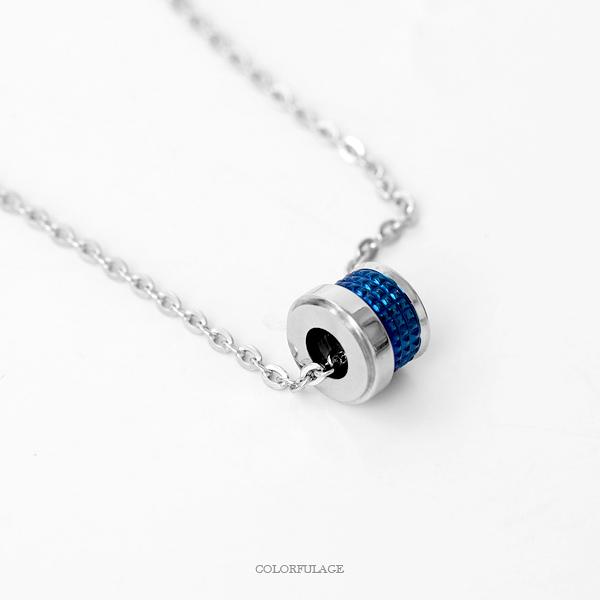 鋼製藍極光格紋凹滾輪項鍊 簡單卻又不失特色 柒彩年代【NB793】質感細緻
