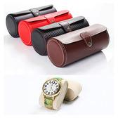 皮質手錶盒旅行便攜式圓筒手鍊包收藏首飾時尚禮品pu首飾收納盒子