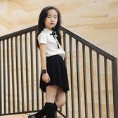 尾牙全館9折 女童襯衫翻領兒童學院風白襯衣女中大童短袖氣質休閒上衣 百搭潮品