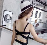 EASON SHOP(GU6168)後背交叉綁帶設計露背美背百褶小吊帶背心內搭衫針織衫女上衣服素色韓版寬鬆