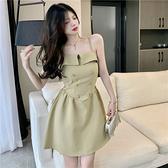 VK精品服飾 韓國風名媛細肩帶雙排釦收腰氣質無袖洋裝