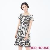 【RED HOUSE 蕾赫斯】緹花剪裁洋裝(灰色)