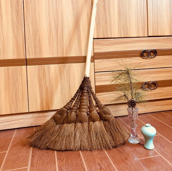 手工棕掃把棕笤帚家用鬃毛單個 大號棕櫚少把軟毛草掃把 i 叮噹百貨