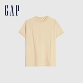 Gap女裝 純色舒適圓領短袖T恤 698548-杏黃色