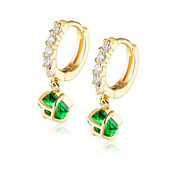 【5折超值價】最新款時尚精美經典特色綠鑽造型銅鍍18K金女款耳飾