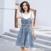 牛仔吊帶裙 牛仔背帶裙女夏季時尚新款流行吊帶裙仙女顯瘦兩件套洋裝潮 檸檬衣舍