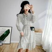 春季新品長袖洋裝 法式優雅茶歇裙氣質復古桔梗溫柔愛心印花連身裙631-1254 巴黎春天