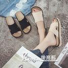 拖鞋 學生時尚休閒外穿拖鞋中跟鬆糕防滑海...