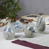 陶瓷手繪古風荷韻小花瓶家居擺件裝飾
