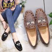 社會女鞋豆豆鞋春季百搭蜜蜂柳丁平底鞋子女 夏洛特