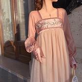 2020新款秋裝薄款漢服古裝女桔梗法式小眾洋裝子中國風夏季仙氣5 幸福第一站 幸福第一站