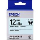 LK-4LBK EPSON 緞帶系列天空藍底黑字標籤帶(寬度12mm) C53S654437