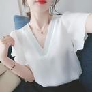 超仙雪紡衫女2021夏季新款白色短袖寬鬆v領上衣洋氣氣質小衫襯衣 依凡卡時尚