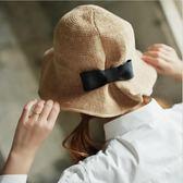 薄棉線針織折疊漁夫帽 盆帽遮陽帽白色草帽子m19
