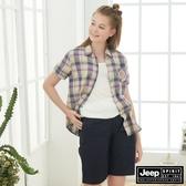 【JEEP】女裝 多彩格紋短袖襯衫-多彩格紋