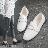 豆豆鞋 小單鞋女春季小皮鞋兩穿豆豆鞋方頭平底學院風奶奶鞋 【全館免運】