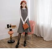 《MA0260-》黑白格織紋毛呢魚尾寬版孕婦洋裝 OB嚴選