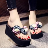 拖鞋女夏時尚外穿坡跟韓版防滑夾腳人字拖