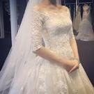 婚紗禮服2020新款新娘一字肩孕婦韓式長拖尾蕾絲齊地婚紗 (pink Q 時尚女裝)
