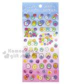 〔小禮堂〕角落生物 造型透明果凍貼紙組《藍紫.花朵》裝飾貼.黏貼用品 4974413-74157