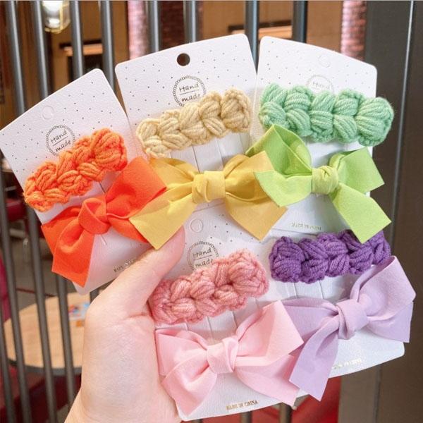 1+1髮夾-韓國新款編織麻花+蝴蝶結髮夾套組 兩入組 髮束 髮帶 髮飾【AN SHOP】