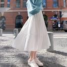 紗裙 2020年夏季半身裙女中長款雪紡長裙白色蛋糕裙A字裙高腰網紗裙子 伊蘿