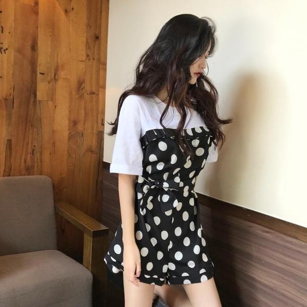 VK旗艦店 韓系波點拼接收腰系帶單品連身褲