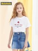 巴拉巴拉女童短袖t恤 純棉洋氣中大童夏裝童裝兒童上衣潮 伊衫風尚