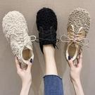 毛毛鞋 毛毛鞋女冬外穿一腳蹬女鞋秋鞋平底毛絨豆豆鞋單鞋子-Ballet朵朵