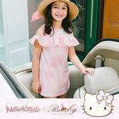 洋裝 Hello Kitty x Ruby 聯名款-露肩荷葉袖印花短袖洋裝(童)-Ruby s 露比午茶