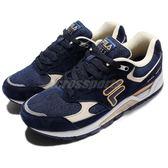 FILA 復古慢跑鞋 J311R 卡其 深藍 麂皮 運動鞋 休閒鞋 男鞋【PUMP306】 1J311R318