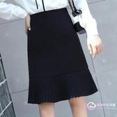 及膝裙 2020春新款黑色高腰裙子半身裙通勤職業面試西裝a字百褶裙女中裙 【8折搶購】
