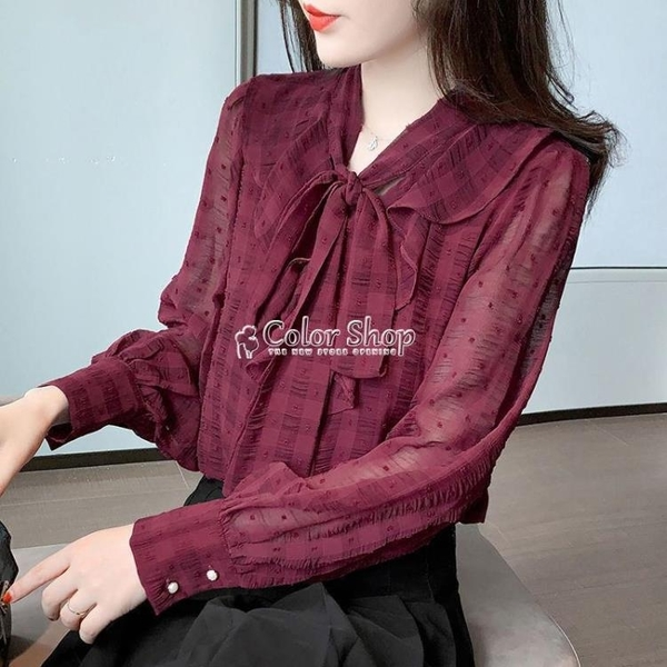 顯瘦氣質襯衫女雪紡衫長袖2021春季新款蝴蝶結打底衫洋氣百搭小衫 快速出貨